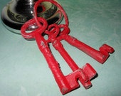 Set of 3 Barn Red Shabby Distressed Old Iron Keys