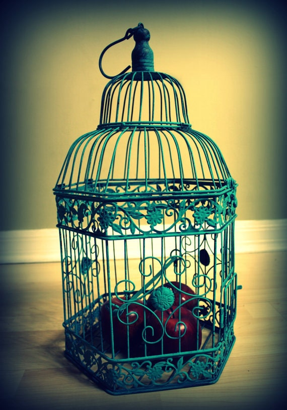 "Turquoise Bird Cage Decorative Piece or Wedding Card Holder 20"" tall x 31.5"" around-Wedding Card Box"