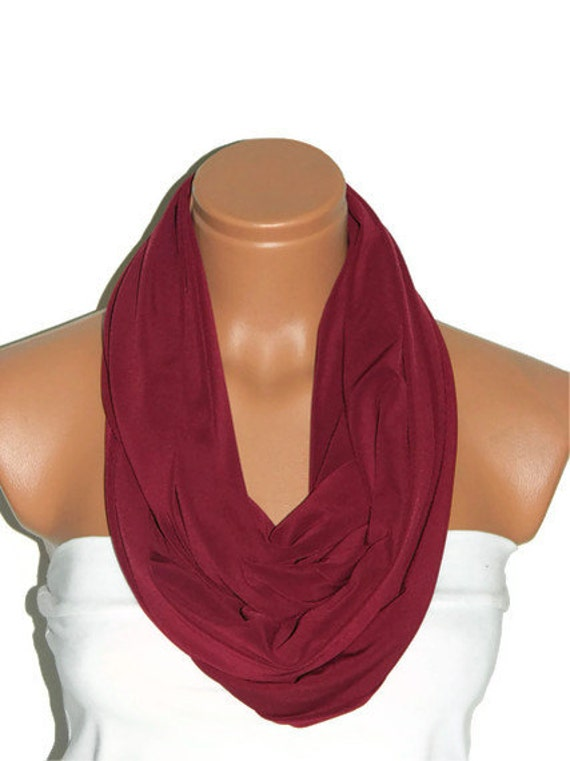 Infinity Scarves ,burgundy scarf,claret red, Loop scarf, Circle Scarf ,Jersey Scarf,Womens Accessories.