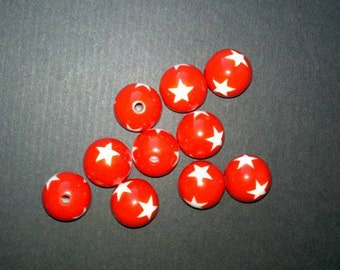 Red and White Star Beads