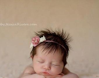 Baby Headband - Flower Headband - Newborn Baby headband - Infant Headband - Photography Prop-Vintage shabby chic,