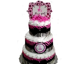 3 Layer - Zebra Sweet Safari Print Pink and Black Baby Shower Diaper Cake