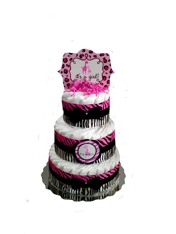 Items Similar To 3 Layer   Zebra Sweet Safari Print Pink And Black Baby  Shower Diaper Cake On Etsy