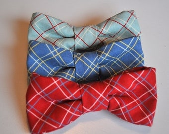 Pick one - Boys Bow Tie in Plaid Red, Blue, and Teal