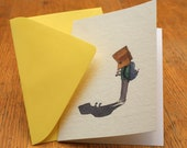 T rex sees his shadow. Illustrated card.