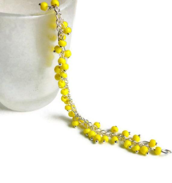 yellow silver bracelet neon yellow bracelet