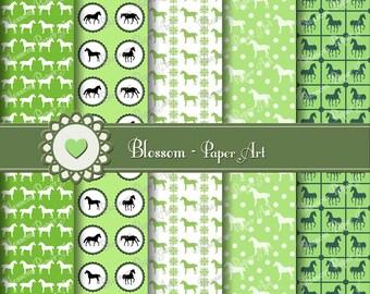 Green Digital Paper Horses Digital Paper Pack, Green Scrapbook, Collage Sheet, Printables, Decoupage - 300 dpi - 1040