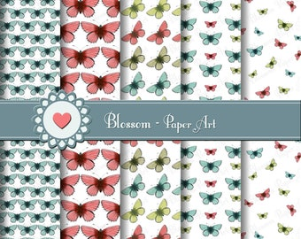 Butterflies Digital Paper, Digital Paper Scrapbooking Digital Paper Pack, Butterflies Collage Sheet - 1508