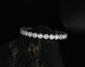 Petite Bubbles Platinum WITH Hand Milgrain Beading Diamond FULL Eternity Band (Other Metals Available)