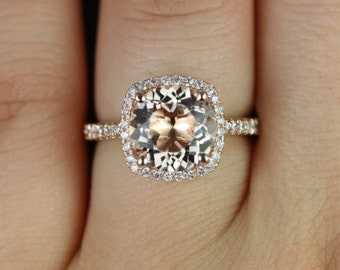 Barra 9mm 14kt Rose Gold Morganite and Diamonds Cushion Halo Engagement Ring (Other metals and stone options available)