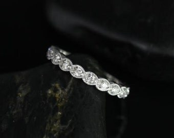 Miranda 14kt Overlapping Horizontal Leaves WITH Milgrain Diamonds HALFWAY Eternity Band (Other Metals Options Available)