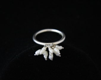 Freshwater Pearl and Sterling Silver Cluster Ring