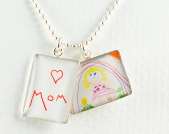 Child's Drawing Necklace   Handwriting Necklace   Personalized Artwork Necklace   Mother's Day Gift   Gift for Mom