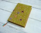 Stars - green - Handmade Journal, notebook, batik and handmade  paper
