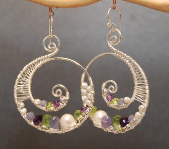 Artistic earrings ivory pearls, amethyst, tanzanite, vessonite Luxe Bijoux 77