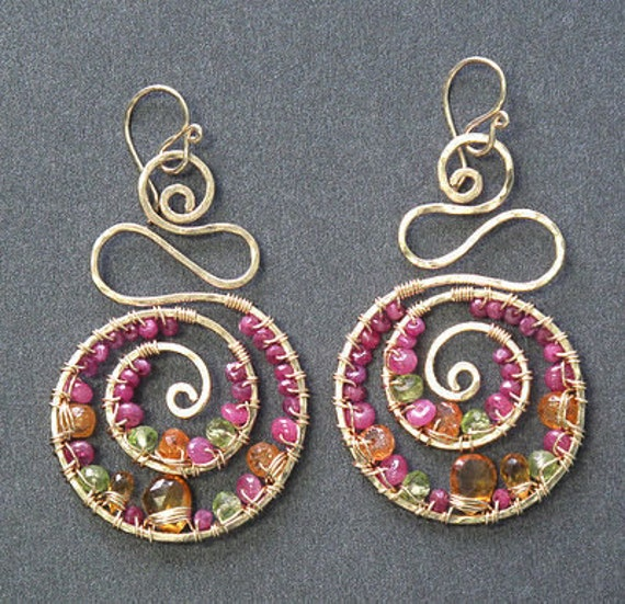 Swirl drop earrings ruby, citrine, mandarin garnet peridot Luxe Bijoux 136