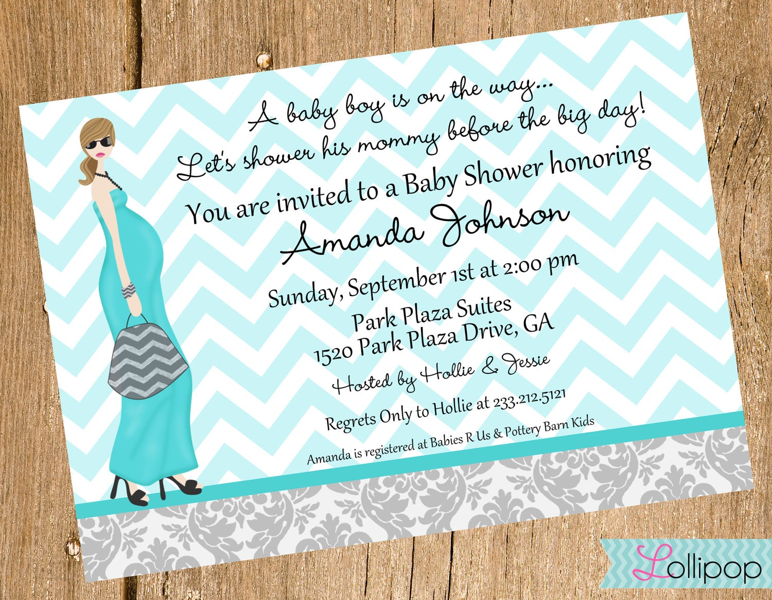 Its a Boy Mod Baby Shower Printable Invitation by LollipopInk