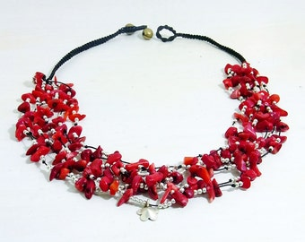 Necklace Handmade Red Stone With Sterling Silver Beads in Thailand FAIR Trade Wax Cotton String (N030-R)