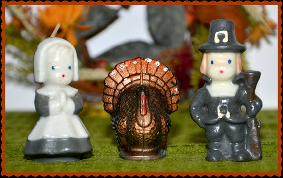 Vintage 3 Piece Gurley Thanksgiving Candles