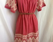 on hold- Vintage dress - navajo, aztec, tribal, woven, embroidered - Circa 1970