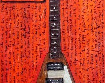 Jim James Gibson Flying V electric guitar art print
