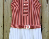 vintage orange striped drop waist dress