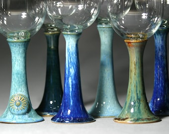 Handcrafted Pottery Wine Glasses Set Goblets Blue Green Glazed Wheel-Thrown Red White Wine Wedding Gift Bridal Shower Ceramic Chalice