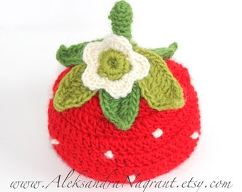 STRAWBERRY baby hat - photo prop  - wool or acrylic - Made To Order