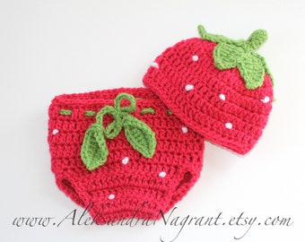 STRAWBERRY BABY SET -  hat and diaper cover set - photo prop - acrylic - Made To Order