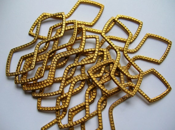 Brass art deco findings lot,ornate,stamping,,vintage jewelry supply,destash,brass