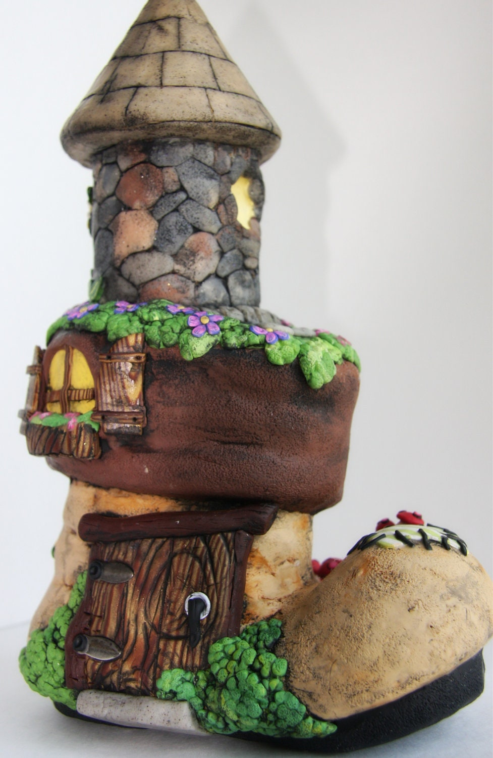 Old Boot Fairy House For Your Fairy Garden Hand Sculpted From