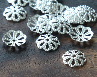 Bead Caps, Silver Finish, 10mm Flower - 50 pcs - eBCR016-ST