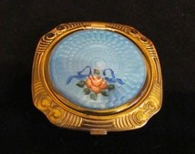 1920s Evans Guilloche Compact Powder Compact Rouge Compact Mirror Compact Art Deco Compact Excellent Condition