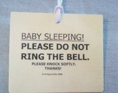 Baby Sleeping Please Do Not Ring Bell door hanger tag