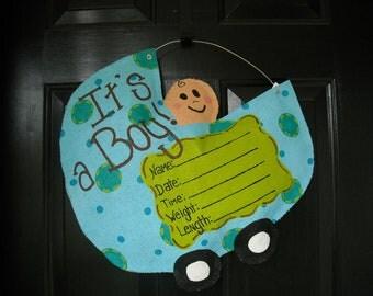 Burlap Baby Boy Carriage-Birth Announcement/ Door Hanger