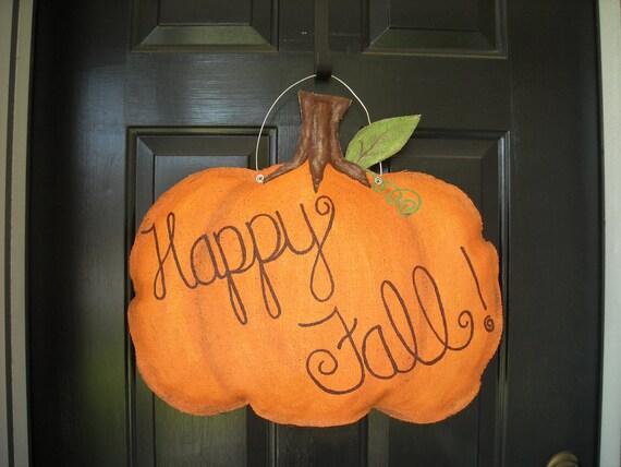 Burlap Pumpkin Door Hanger- Fall/ Halloween/ Thanksgiving