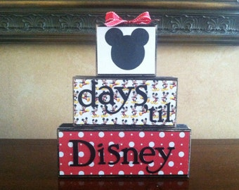 Disney Countdown Wood Block set / Vacation Countdown - Advent Calendar - Countdown the days to when you take your disney vacation