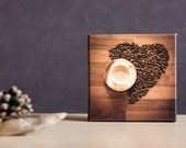 Valentine's Day, Photo Art Block 4x4, Gallery Wrap Ready to Hang, Still Life Photography, Kitchen Decor, Love Coffee, Harvest Autumn