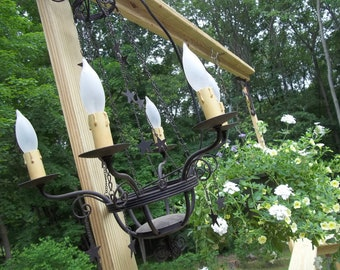 Vintage Black iron candle light chandelier with chains and stars by hermina's cottage vintage lighting farmhouse lighting