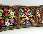 Vintage Suzani, Zardevor Pillow Case, Long Suzani Pillow Case , Uzbekistan Suzani Pillow Case,Sofa Couch Pillow,Long Lumbar Pillow