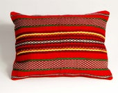 Set of Two,Coral Red / Striped Pillow Case, Woven Cotton Pillow Cover, Striped Motif Pillow Cower, Cotton Pillow Case