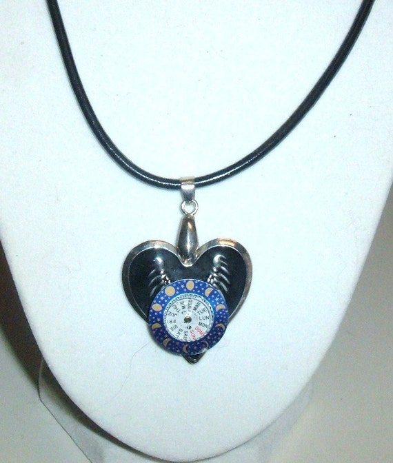 STEAMPUNK Necklace Vintage Watch Dials day of week and moon phases Set onto Enamel Wings OOAK