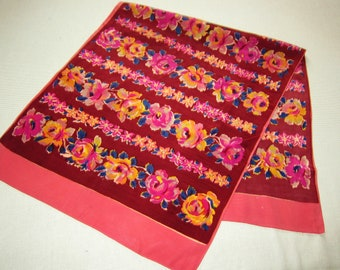 1940s oblong SCARF maroon and rose FLORAL, antique scarf, vintage scarves, long floral scarf, 40s fashion