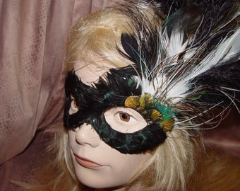 100% Cruelty Free  - Pied Peacock Feathered Halloween Mask - Black and White Mask