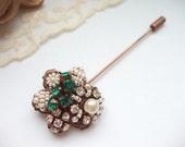 Emerald Rhinestone Lapel Pin with Swarovski Rhinestones Seedbeads Imitation Pearls Antique Copper Vintage Style Beaded Stick Pin Scarf Pin