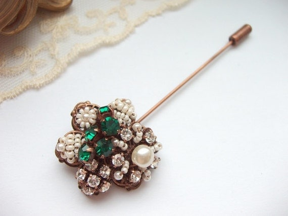 Emerald Rhinestone Lapel Pin with Swarovski Rhinestones Seedbeads Imitation Pearls Antique Copper Vintage Style Beaded Stick Pin Scarf Pin