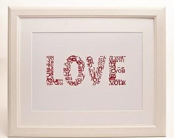 Love You Typographic Art Print