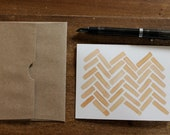 SET: peach watercolor herringbone blank notecards