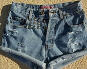 Denim Shorts, High Waisted Shorts, Distressed Shorts, Cut Off Shorts, Studded Shorts (A) - Size Medium