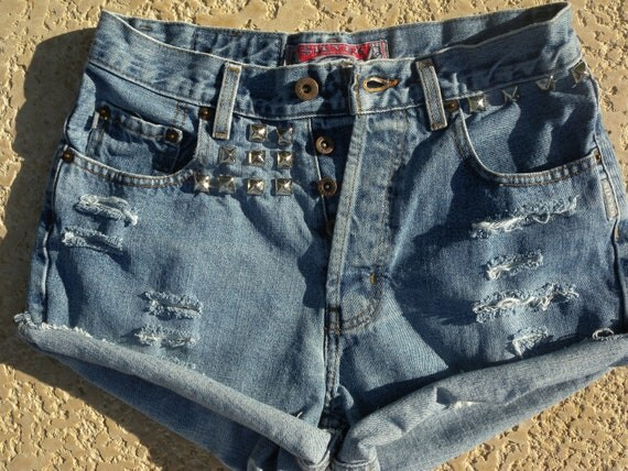 Denim Shorts, High Waisted Shorts, Distressed Shorts, Cut Off Shorts, Studded Shorts (A) - Size 6